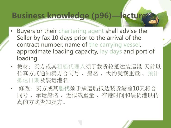 Business knowledge (p96)—lecture 3