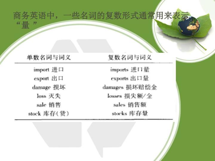 """商务英语中,一些名词的复数形式通常用来表示""""量 """""""