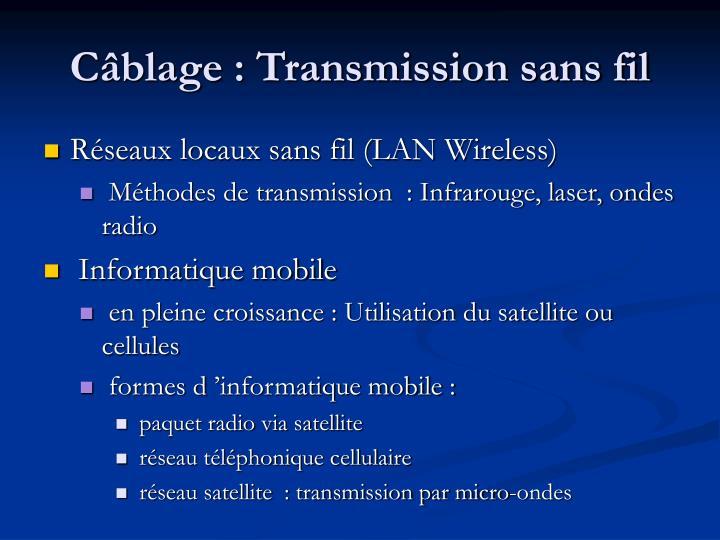 Câblage : Transmission sans fil