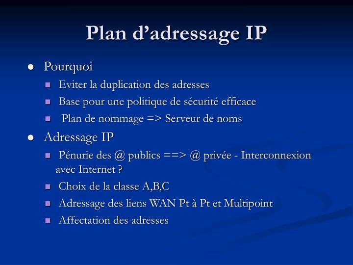 Plan d'adressage IP