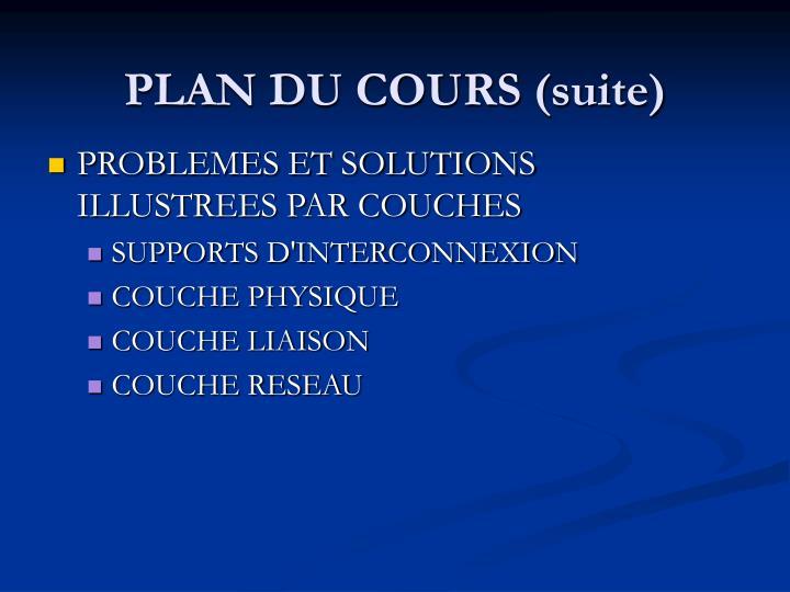 PLAN DU COURS (suite)
