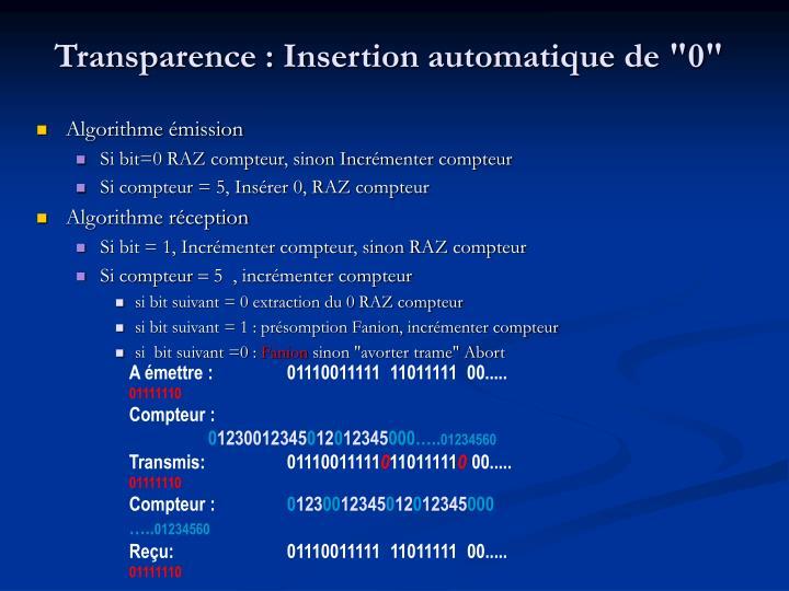"""Transparence : Insertion automatique de """"0"""""""