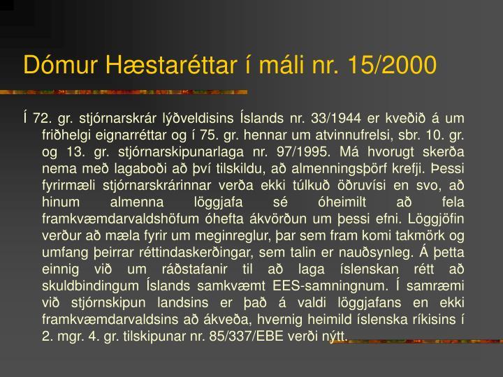 Dómur Hæstaréttar í máli nr. 15/2000