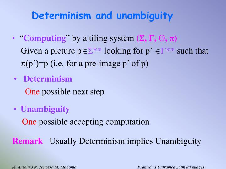 Determinism and unambiguity
