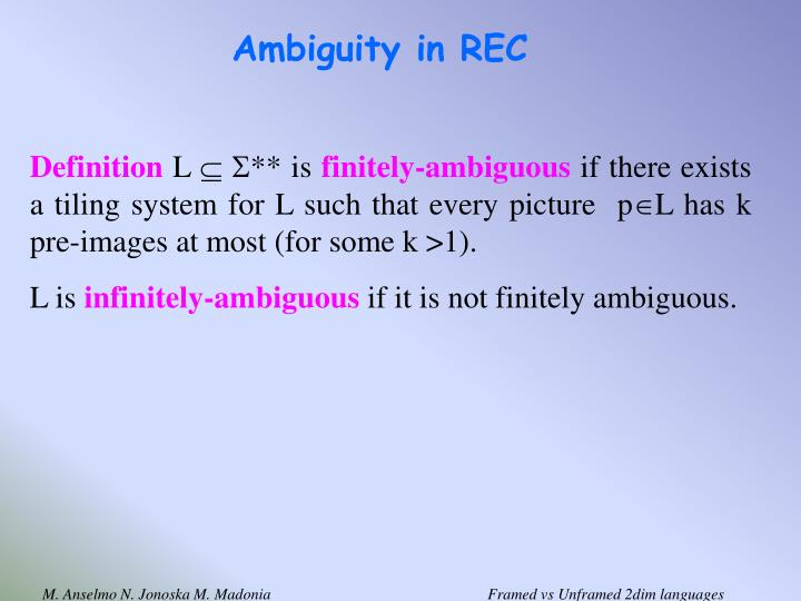 Ambiguity in REC