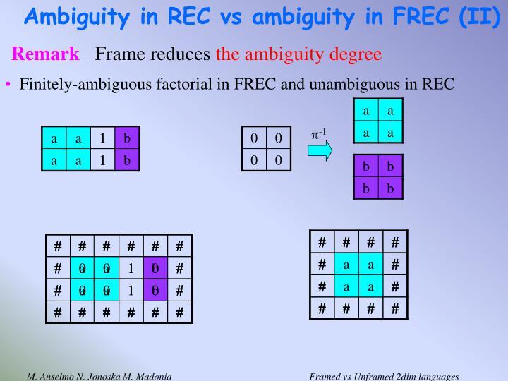 Ambiguity in REC vs ambiguity in FREC (II)