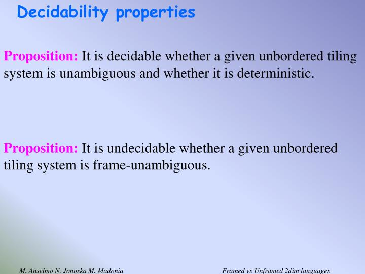Decidability properties