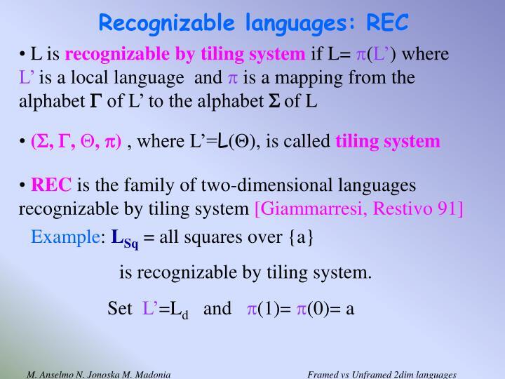Recognizable languages: REC