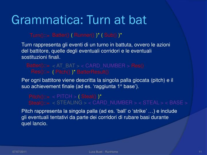Grammatica: Turn at bat