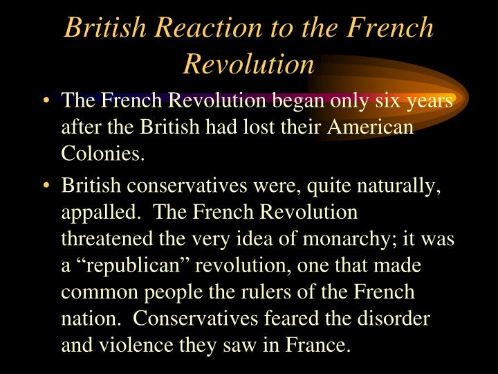 British reaction to the french revolution