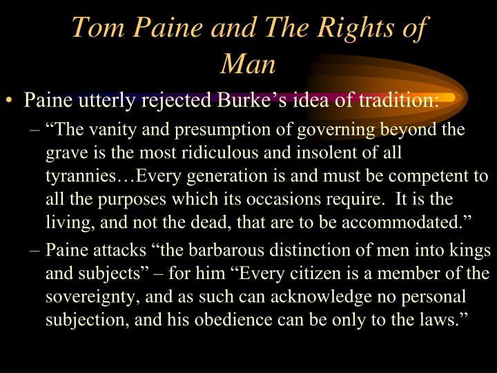Tom Paine and The Rights of Man