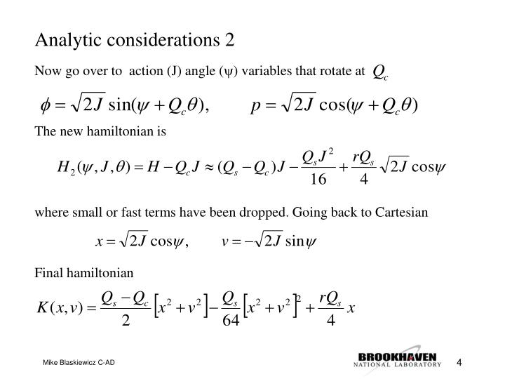 Analytic considerations 2