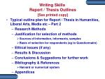writing skills report thesis outlines see printed copy3