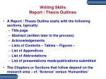 writing skills report thesis outlines
