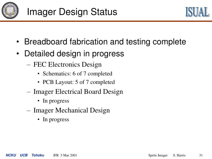 Imager Design Status