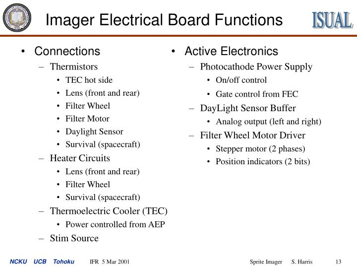 Imager Electrical Board Functions