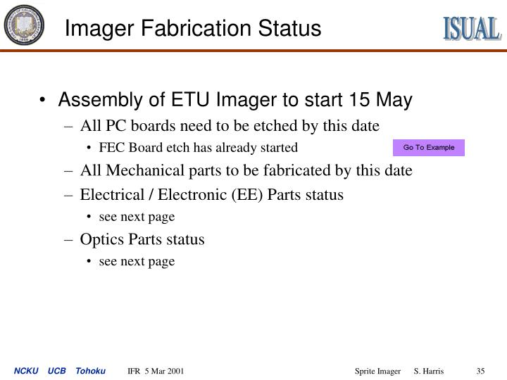 Imager Fabrication Status