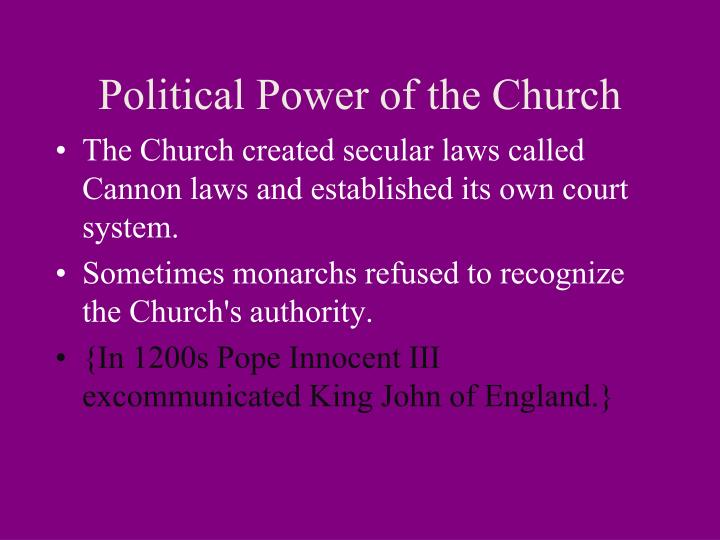Political Power of the Church