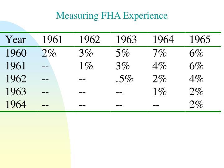 Measuring FHA Experience