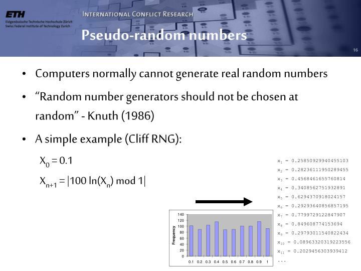 Pseudo-random numbers