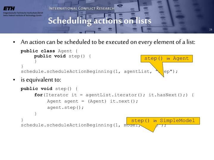 Scheduling actions on lists