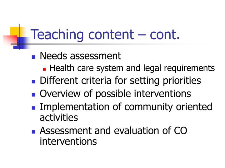 Teaching content – cont.