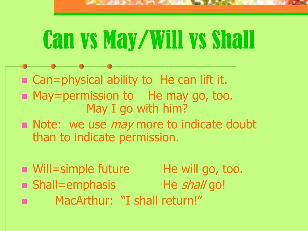 Shall i vs may i