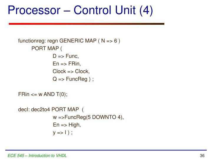 Processor – Control Unit (4)