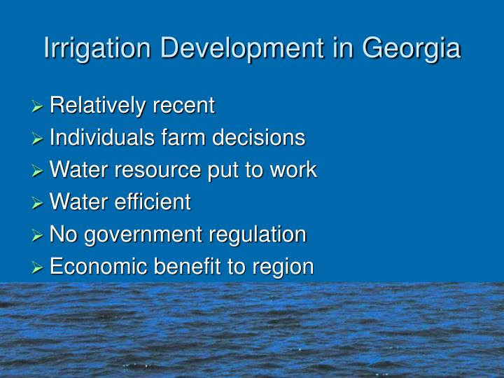 Irrigation development in georgia