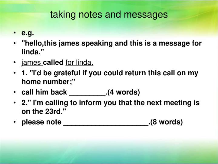 taking notes and messages