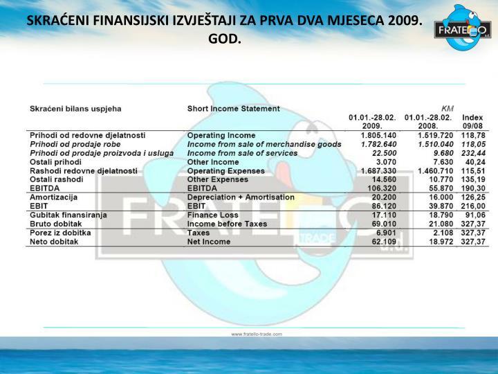 SKRAĆENI FINANSIJSKI IZVJEŠTAJI ZA PRVA DVA MJESECA 2009. GOD.