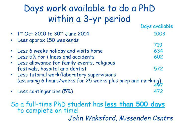 Days work available to do a PhD within a 3-yr period