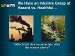 we have an intuitive grasp of hazard vs healthful