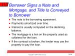 borrower signs a note and mortgage and title is conveyed to borrower