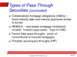 types of pass through securities concluded