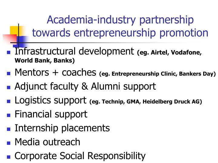 Academia-industry partnership towards entrepreneurship promotion