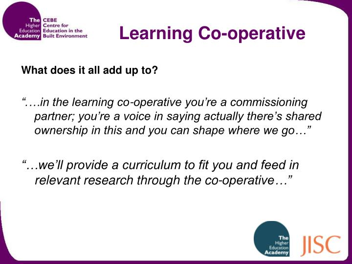 Learning Co-operative