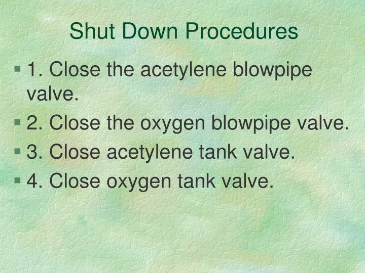 Shut Down Procedures