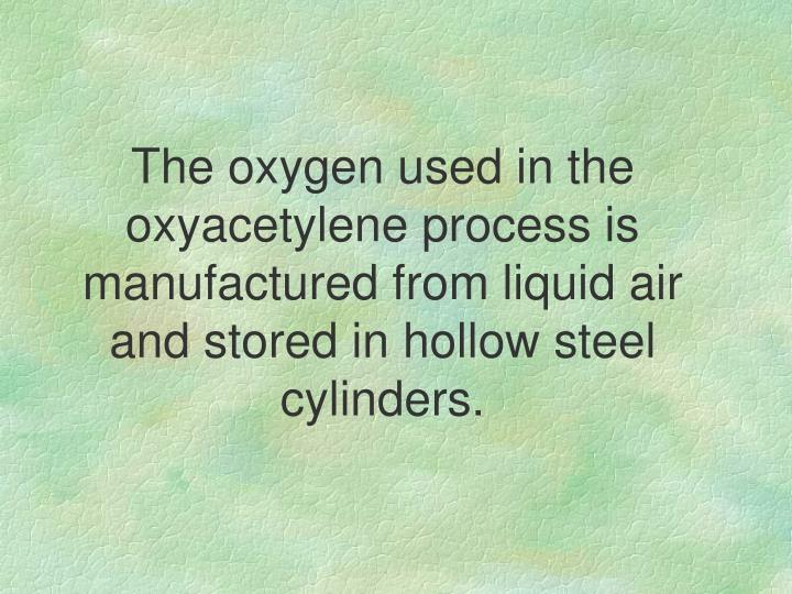 The oxygen used in the oxyacetylene process is manufactured from liquid air and stored in hollow steel cylinders.