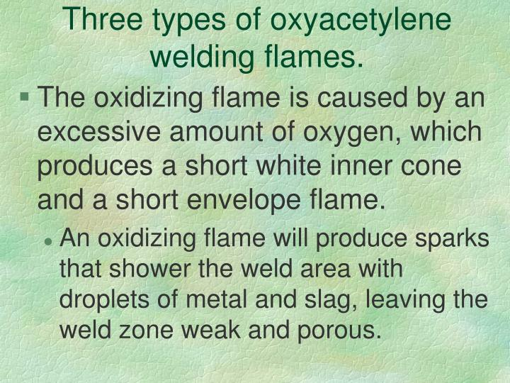 Three types of oxyacetylene welding flames.