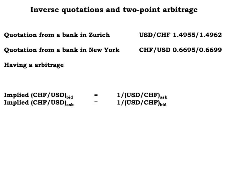 Inverse quotations and two-point arbitrage
