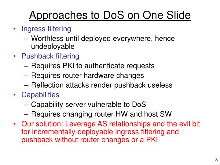 Approaches to dos on one slide