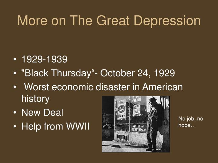 a history of the great depression of 1929 The wall street crash of 1929, is the stock-market crash that occurred starts on october 28th and started the period of the great depression in the united states, starting a world-wide economic crisis and lasting till the mid 1930's.