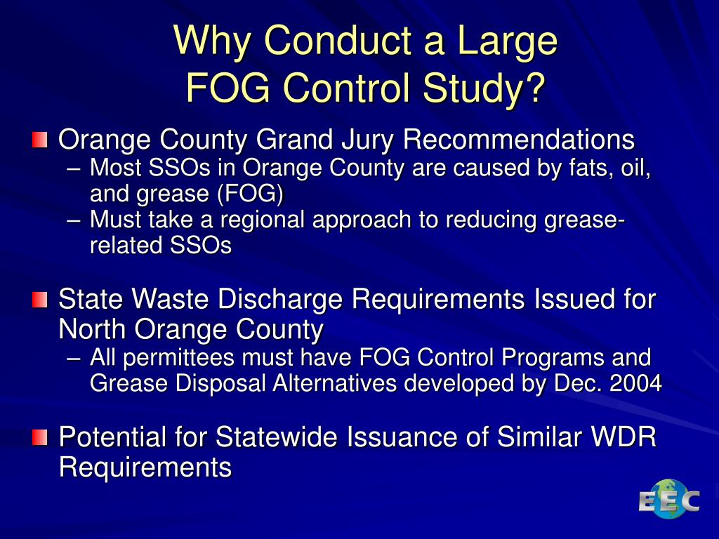 PPT - Orange County Fats, Oils, and Grease (FOG) Control Study