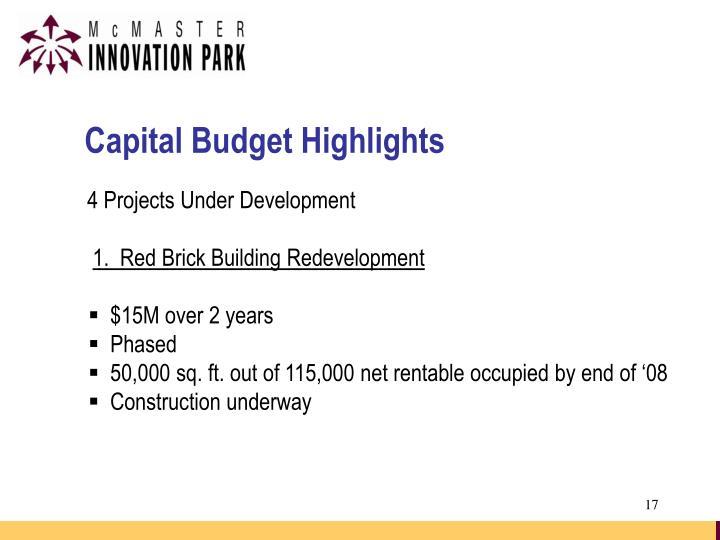 Capital Budget Highlights
