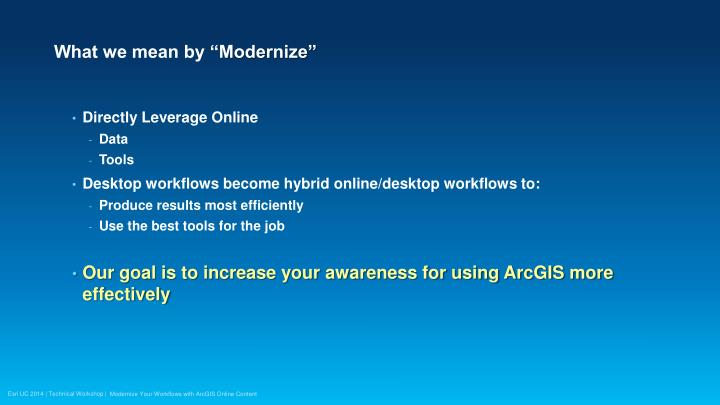What we mean by modernize