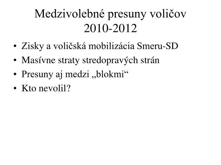 Medzivolebn presuny voli ov 2010 2012