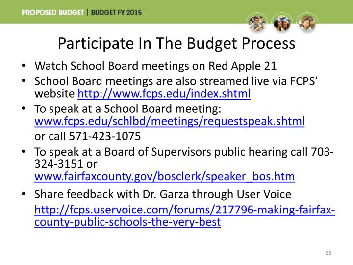Participate In The Budget Process