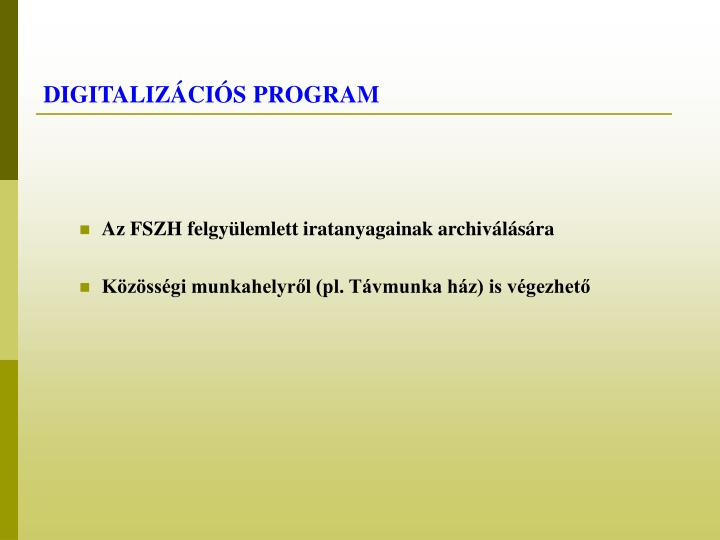 DIGITALIZÁCIÓS PROGRAM