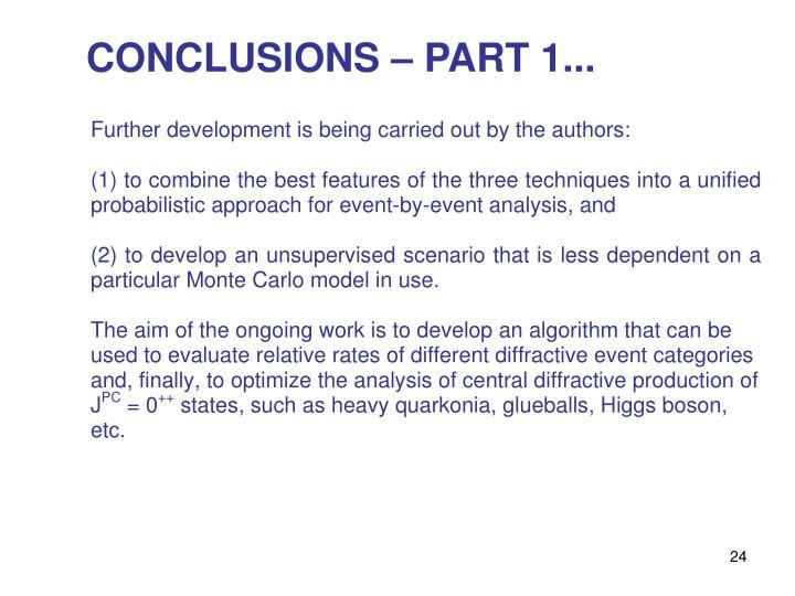 CONCLUSIONS – PART 1...